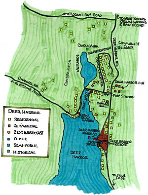 Map of Deer Harbor on Orcas Island
